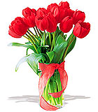 Radiantly Red Tulips - Deluxe