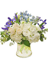 White & Blue Garden Vase Avante Gardens by Everyday Flowers