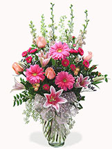 Pink Celebration Vase Avante Gardens by Everyday Flowers