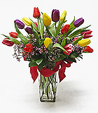 Vibrant Mixed Tulips Arrangement