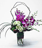 Orchids and Hydrageas Contemporary Vase