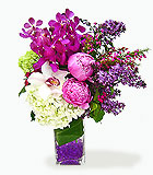 Fragrant Garden Vase with Peonies, Lilacs and Orchids