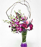 Orchids and Anthuriums in Pink and Purple