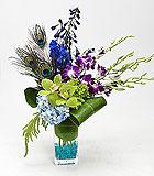 Peacock themed flower arrangement