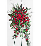 Red Roses Easel Spray Funeral Flowers