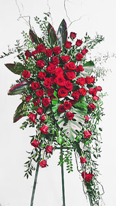 Red Rose Easel Spray By Anaheim Florist Avante Gardens