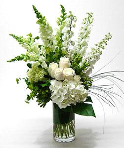 Tranquil White Flowers Vase Arrangement By Anaheim Florist