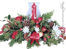 Christmas Flowers Centerpiece With Hurricane Candle