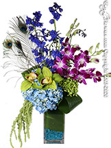 Peacock themed flower arrangement