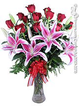 Long Stem Red Roses With Stargazer Lilies