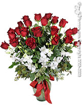 Two Dozen Long Stem Red Roses With White Orchids Valentines Delivery