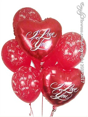 I Love You Foil Balloons And Hearts Delivery by Avante Gardens Anaheim Florist