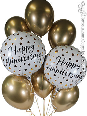 Six shiny gold latex balloons with two foil balloons white with shiny gold dots printed with a happy anniversary message available for delivery in Orange County California.