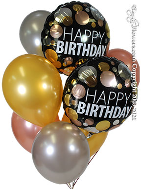 Birthday Balloons With Gold And Rose Gold Balloons Delivery by Avante Gardens