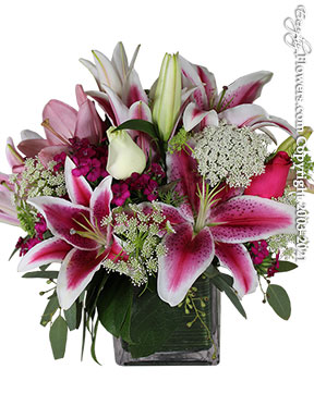 Assorted Lilies And Pink & White Roses