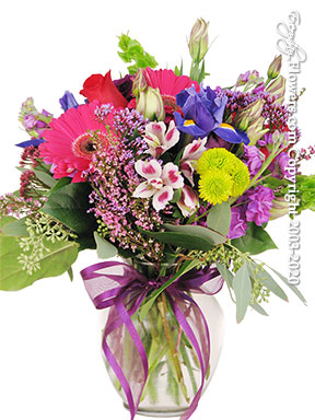 Gerbera Daisies Iris Roses And Stock Lavender Blooms