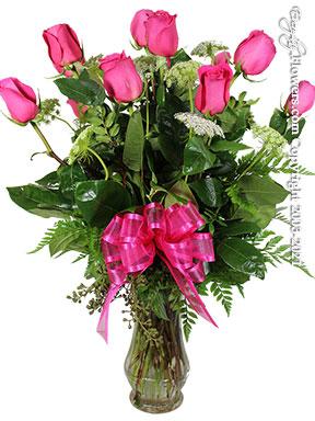 Dozen Long Stem Pink Roses In Glass Vase