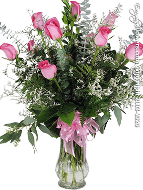 Dozen Long Stem Pink Roses In Glass Vase