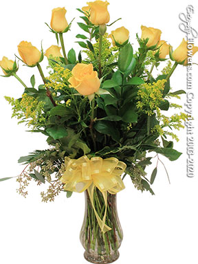 Dozen Long Stem Yellow Roses In Glass Vase