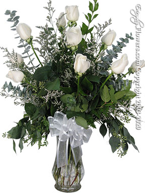 Dozen Long Stem White Roses In Glass Vase