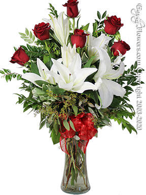 The Red Rose Bouquet Featuring White Lilies by Avante Gardens