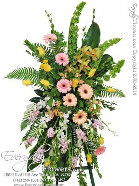 Loving Pastel Standing Funeral Flowers Avante Gardens by Everyday Flowers