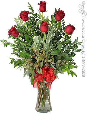 Half Dozen Long Stem Red Roses Valentines Day Delivery