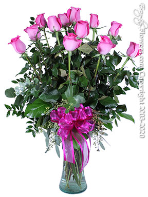 Valentines Day Dozen Pink Roses Orange County Delivery
