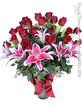 Two Dozen Long Stem Red Roses With Lilies