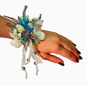 White Evening Dress on Rose And Orchid Prom Wrist Corsage