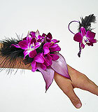 Purple Prom Corsage and Boutonniere with Feathers