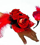 Red and Black Prom Flowers with Feathers