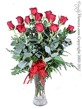 Dozen Long Stem Red Roses Valentines Delivery