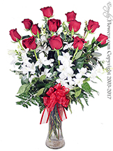 Valentines Dozen Red Roses With White Orchids