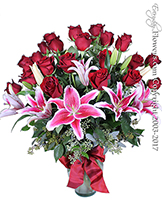 Two Dozen Long Stem Red Roses With Lilies Valentines Delivery