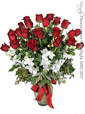 Two Dozen Long Stem Red Roses With Orchids