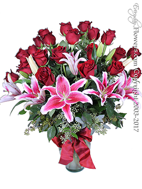 V8 Two Dozen Long Stem Red Roses With Lilies